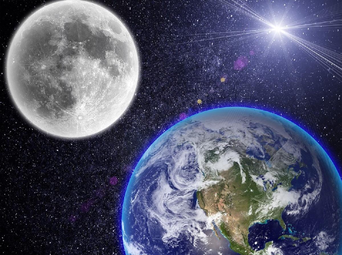 красивое фото с космоса земли и луны органической химии для