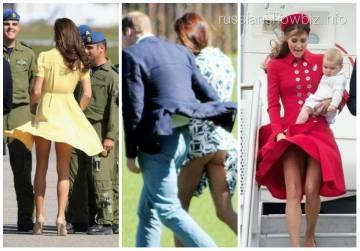 У кейт миддлтон ветер поднял юбку