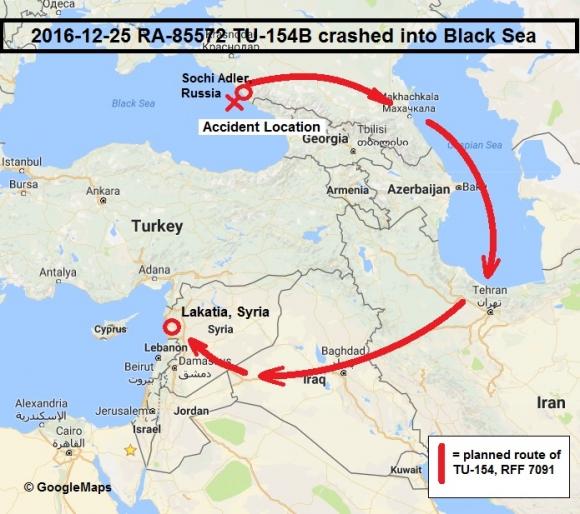 Стандартный маршрут военных бортов из аэропорта Сочи