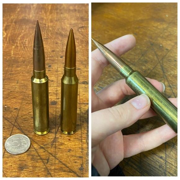 Фото: Патроны для винтовок Влада Лобаева; Патрон с пулей собственного производства
