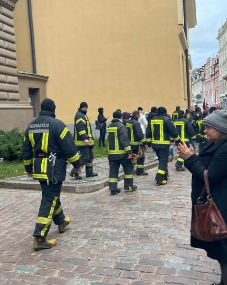 Пожарные Латвии вышли к Сейму