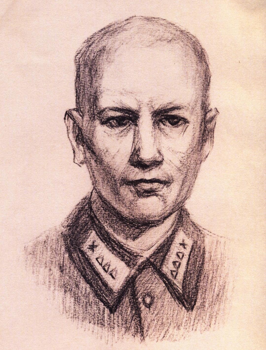 Карандашный портрет Н.В. Сиротинина, сделанный по памяти его земляком, курсантом Московского ВОКУ Р. Лукьяновым в 1990-е годы