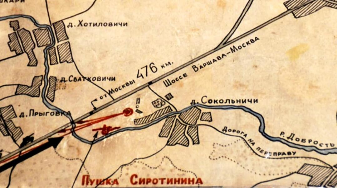 Карта местности, где произошел бой
